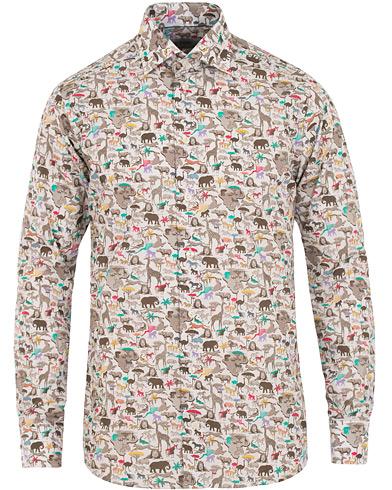 Eton Slim Fit Printed Animals Shirt White i gruppen Tøj / Skjorter / Casual skjorter hos Care of Carl (14372911r)