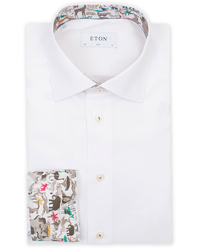 Eton Slim Fit Contrast Animals Shirt White i gruppen Tøj / Skjorter hos Care of Carl (14373011r)