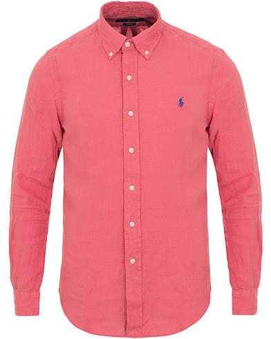 Polo Ralph Lauren Slim Fit Linen Button Down Contrast Shirt Hyannis Red i gruppen Klær / Skjorter / Linskjorter hos Care of Carl (14504211r)