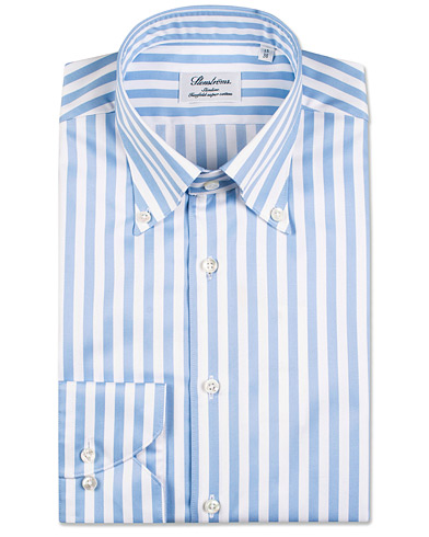 Stenströms Slimline Button Down Stripe Shirt Light Blue i gruppen Tøj / Skjorter / Businessskjorter hos Care of Carl (14536911r)