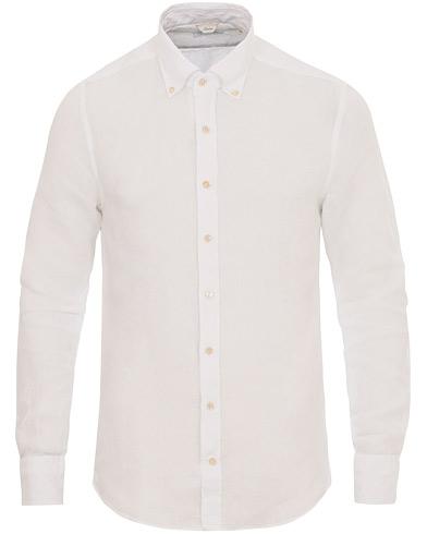 Stenströms Slimline Button Down Linen Shirt White i gruppen Tøj / Skjorter / Hørskjorter hos Care of Carl (14537311r)