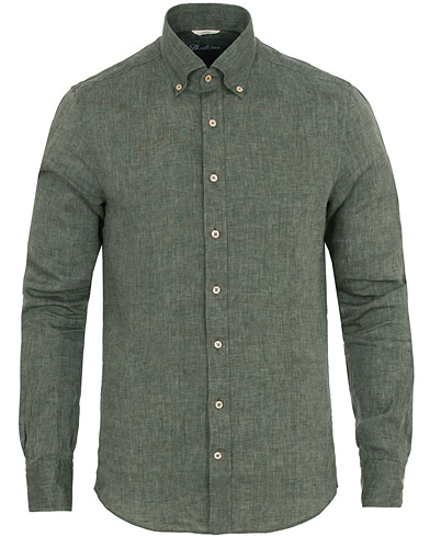 Stenströms Slimline Button Down Linen Shirt Green i gruppen Klær / Skjorter / Linskjorter hos Care of Carl (14537611r)