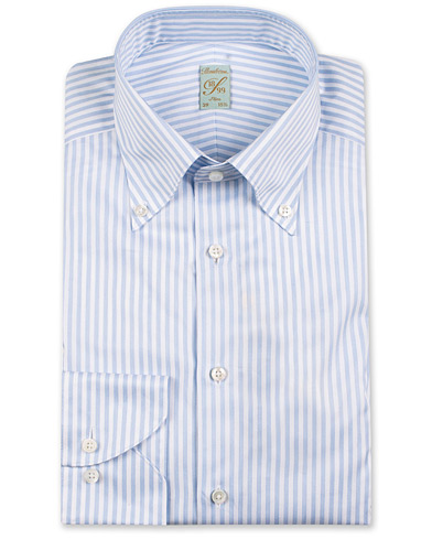 Stenströms 1899 Slimline Button Down Stripe Shirt White/Blue i gruppen Tøj / Skjorter / Formelle / Businessskjorter hos Care of Carl (14539711r)