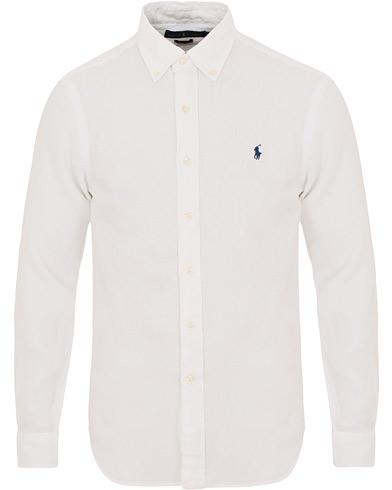 Polo Ralph Lauren Slim Fit Linen Button Down Shirt White i gruppen Klær / Skjorter / Linskjorter hos Care of Carl (14568411r)