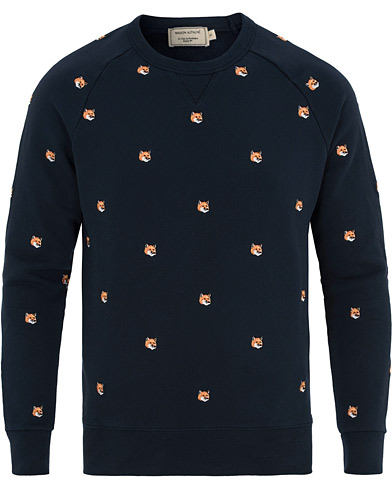 Maison Kitsuné Fox Head Embroidery Sweatshirt Navy i gruppen Klær / Gensere / Sweatshirts hos Care of Carl (14610311r)