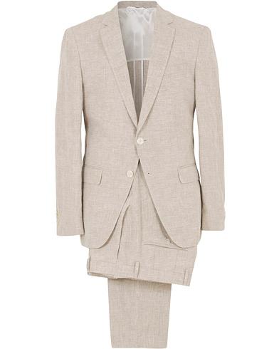 BOSS Helford/Gander Linen Suit Nature i gruppen Klær / Dresser / Todelte dresser hos Care of Carl (14649311r)