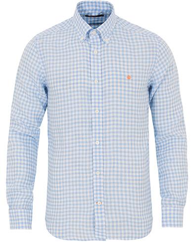 Morris Gilbert Button Down Linen Check Shirt White/Blue i gruppen Kläder / Skjortor / Casual / Linneskjortor hos Care of Carl (14675911r)