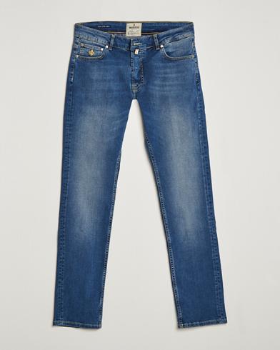 Morris Steeve Satin Stretch Jeans Medium Blue i gruppen Kläder / Jeans / Smala jeans hos Care of Carl (14680111r)