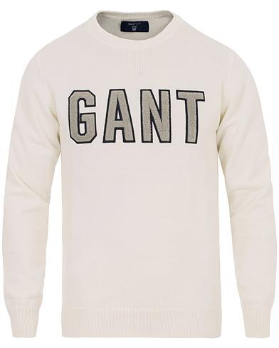 GANT Terry Logo Crew Neck Eggshell i gruppen Kläder / Tröjor / Stickade tröjor hos Care of Carl (14698911r)