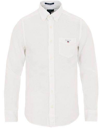 GANT Slim Fit Linen Shirt White i gruppen Klær / Skjorter / Casual / Linskjorter hos Care of Carl (14708011r)