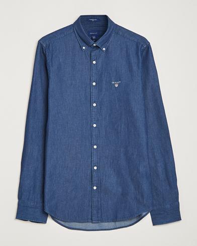 GANT Slim Fit Denim Shirt Dark Indigo i gruppen Tøj / Skjorter / Casual / Casual skjorter hos Care of Carl (14709011r)