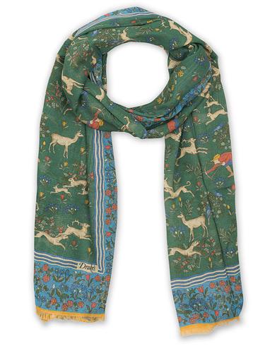 Drake's Cotton/Modal Hunting Print Scarf Green  i gruppen Assesoarer / Scarves hos Care of Carl (14716010)