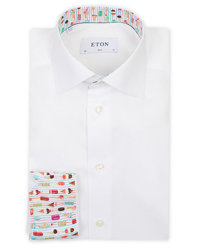 Eton Slim Fit Signature Twill Contrast Shirt White i gruppen Tøj / Skjorter / Businessskjorter hos Care of Carl (14721311r)