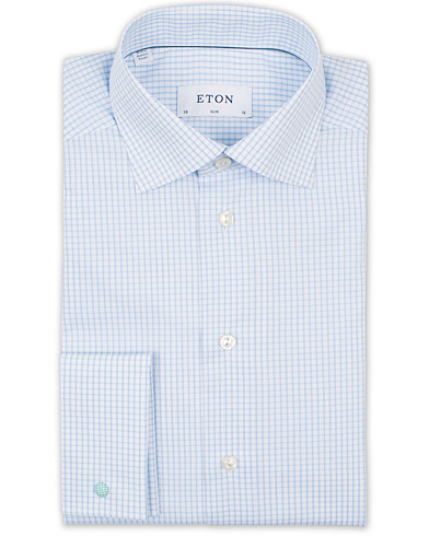 Eton Slim Fit Poplin Check Double Cuff Shirt White/Blue i gruppen Tøj / Skjorter / Businessskjorter hos Care of Carl (14721411r)