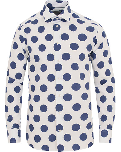 Eton Slim Fit Poplin Printed Large Dot Shirt White i gruppen Tøj / Skjorter / Casual skjorter hos Care of Carl (14721711r)