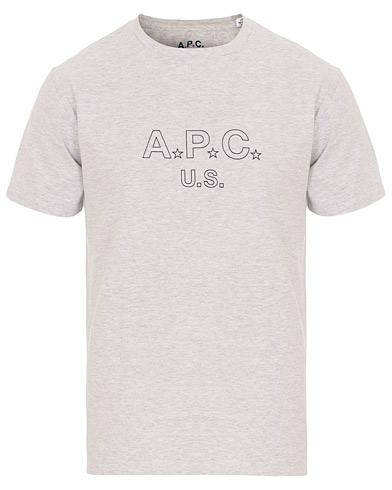 A.P.C US Star H Tee Grey i gruppen Tøj / T-Shirts / Kortærmede t-shirts hos Care of Carl (14758311r)