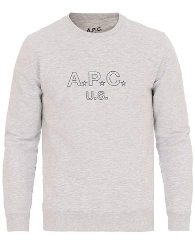 A.P.C US Star H Sweatshirt Grey i gruppen Tøj / Trøjer / Sweatshirts hos Care of Carl (14758711r)