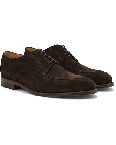 Loake 1880 Ealing Derby Split Toe  Dark Brown Suede i gruppen Skor / Derbys hos Care of Carl (14770611r)