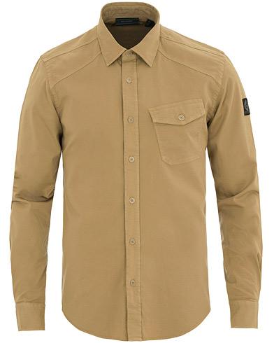 Belstaff Garment Dyed Twill Shirt Khaki i gruppen Tøj / Skjorter hos Care of Carl (14780311r)