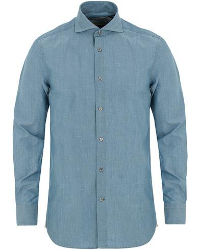 Morris Heritage Bond Button Down Chambray Shirt Light Washed i gruppen Klær / Skjorter / Jeansskjorter hos Care of Carl (14798811r)