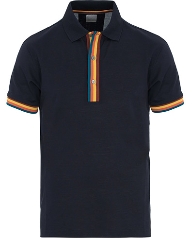 Paul Smith Knit Placket Stripe Polo Navy i gruppen Klær / Pikéer / Kortermet piké hos Care of Carl (14808711r)
