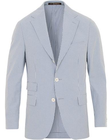 Morris Heritage John Dandy Stripe Suit Blazer Light Blue i gruppen Klær / Dressjakker / Enkeltspente dressjakker hos Care of Carl (14879411r)