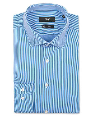 BOSS Jenno Slim Fit Super Stretch Shirt White/Blue i gruppen Kläder / Skjortor / Formella / Businesskjortor hos Care of Carl (14890311r)