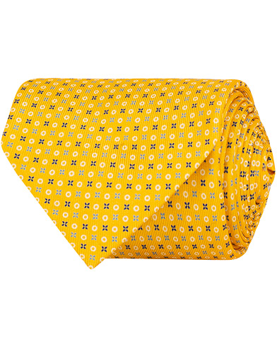 E. Marinella 7-Fold Printed Micro Pattern Silk Tie Bright Yellow 8 cm i gruppen Assesoarer / Slips hos Care of Carl (14966910)