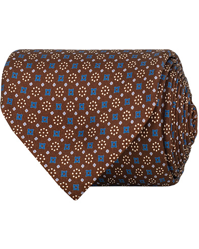 E. Marinella 7-Fold Printed Medallion Silk Tie Blue/Brown 8 cm i gruppen Assesoarer / Slips hos Care of Carl (14968010)