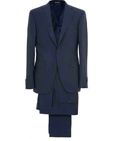 Canali Capri Structured Wool Suit Navy i gruppen Klær / Dresser / Todelte dresser hos Care of Carl (14971011r)