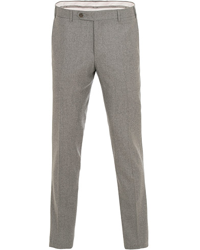Canali Slim Fit Flannel Trousers Light Grey i gruppen Klær / Bukser / Flanellbukser hos Care of Carl (14971311r)