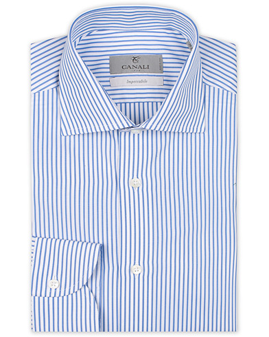 Canali Slim Fit Impeccabile Cotton Stripe Shirt Blue i gruppen Klær / Skjorter / Formelle / Formelle skjorter hos Care of Carl (14973311r)