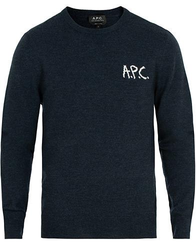 A.P.C Sapiens Sweater Marine Chine i gruppen Klær / Gensere / Strikkede gensere hos Care of Carl (14976511r)