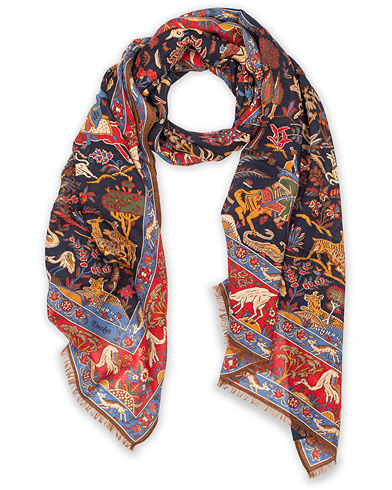 Drake's Wool/Silk Moghul Printed Scarf Navy i gruppen Accessoarer / Scarves hos Care of Carl (14995910)