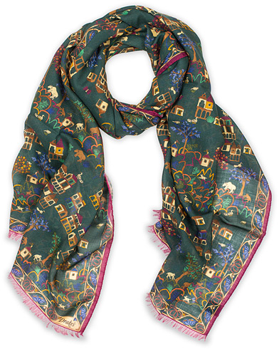 Drake's Wool/Silk Antique Village Printed Scarf Green  i gruppen Assesoarer / Scarves hos Care of Carl (14996510)