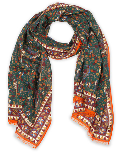 Drake's Wool/Silk Birds and Flowers Printed Scarf Green  i gruppen Accessoarer / Scarves hos Care of Carl (14996710)