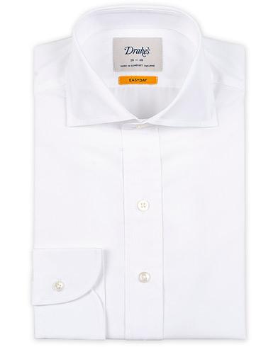 Drake's Slim Fit Poplin Shirt White i gruppen Kläder / Skjortor / Formella / Formella skjortor hos Care of Carl (15000711r)