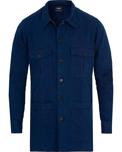 Drake's 4 Pocket Herringbone Schaket Indigio Blue i gruppen Klær / Skjorter / Casual / Overshirts hos Care of Carl (15000811r)