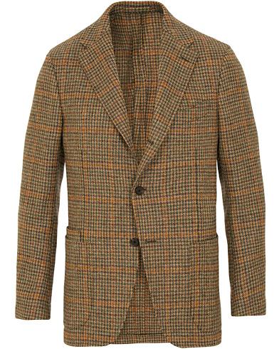Drake's Checked Tweed Jacket Camel i gruppen Klær / Dressjakker / Enkeltspente dressjakker hos Care of Carl (15002211r)