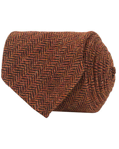 Drake's Wool Herringbone 8 cm Tie Orange  i gruppen Accessoarer / Slipsar hos Care of Carl (15003310)