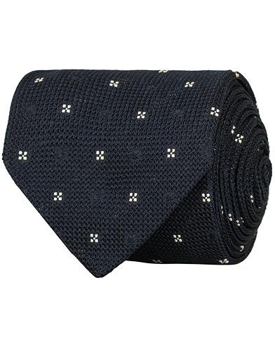 Drake's Silk Grenadine Woven Flower 8 cm Tie Navy  i gruppen Assesoarer / Slips hos Care of Carl (15005710)