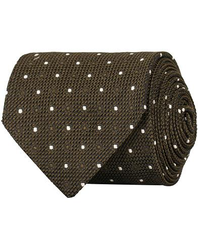 Drake's Silk Grenadine Woven Dot 8 cm Tie Brown  i gruppen Tilbehør / Slips hos Care of Carl (15005810)