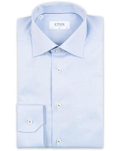 Eton Slim Fit Signature Twill Embroided Shirt Blue i gruppen Kläder / Skjortor / Formella / Formella skjortor hos Care of Carl (15011911r)