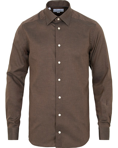 Eton Slim Fit Non Iron Flannel Shirt Brown i gruppen Tøj / Skjorter / Casual / Flannelskjorter hos Care of Carl (15013911r)