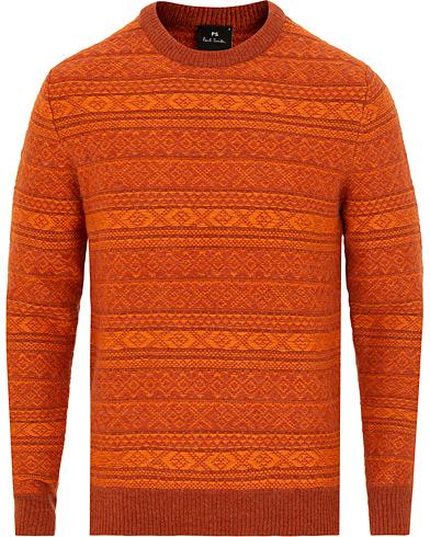 PS By Paul Smith Knitted Inka Pattern Crew Neck Orange i gruppen Klær / Gensere / Strikkede gensere hos Care of Carl (15015911r)