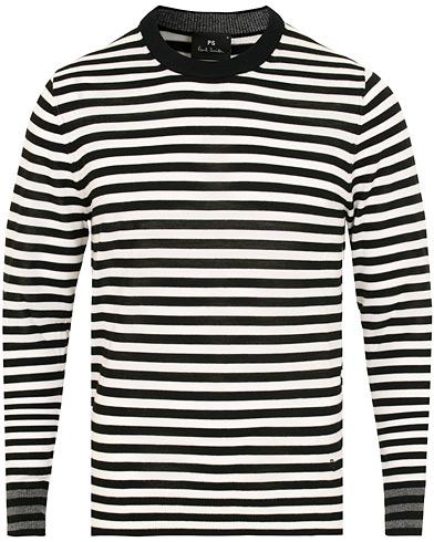 PS By Paul Smith Merino Stripe Crew Neck White/Black i gruppen Klær / Gensere / Strikkede gensere hos Care of Carl (15016211r)