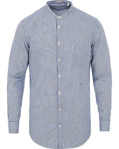 Massimo Alba Noto Mandarin Collar Shirt Blue Stripe i gruppen Klær / Skjorter / Casual skjorter hos Care of Carl (15042411r)