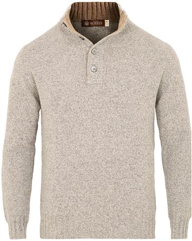 Morris Heritage Knitted Half Button Turtle Grey i gruppen Kläder / Tröjor / Stickade tröjor hos Care of Carl (15052111r)