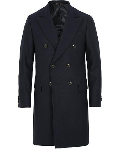 Oscar Jacobson Saul Wool/Cashmere Double Breasted Coat Navy i gruppen Kläder / Jackor / Rockar hos Care of Carl (15067911r)