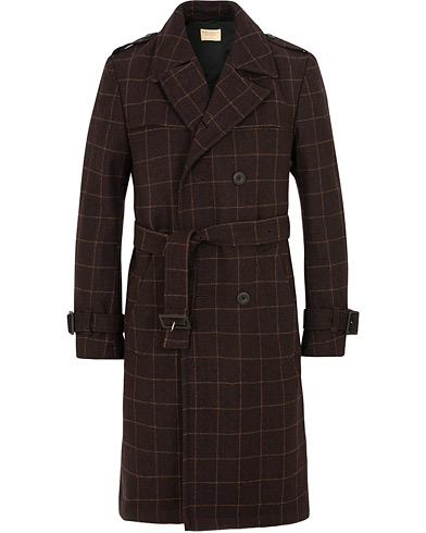 Nudie Jeans Lennart Wool Check Trenchcoat Plum i gruppen Klær / Jakker / Frakker hos Care of Carl (15075511r)